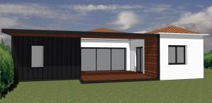 Maison ossature bois, bardage zinc et bois